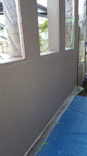 4.29昨日下塗りした外壁部の中塗り・2F外壁上塗り2