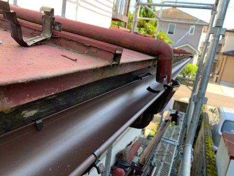 門田様棟押さえ交換、トタン下塗り、中塗り、一階一部樋_190628_0001
