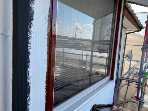 向陽台斎川邸 16日18日の作業 トイ下塗り 木部ハフ下塗り 一階二階屋根中塗り 二_6